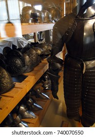 PARIS - SEP 13, 2011 - Medieval tournament armor on display, Museum of the Army, Les Invalides, Paris, France