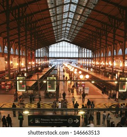PARIS - SEP 27 : Inside view of Paris North Station, Gare du Nord, designed by Jacques Hittorff and completed at 1864 on Sep 27, 2010, Paris, France. The station serve about 190 million per year.
