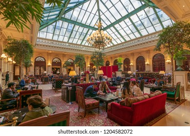 PARIS - SEPT 24, 2018: Famous historical Winter Garden at the Intercontinental Le Grand Hotel, Paris