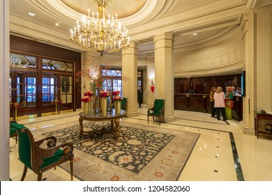 PARIS - SEPT 24, 2018: Lobby of the famous Intercontinental Le Grand Hotel, Paris