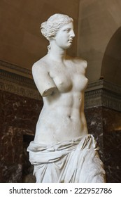 PARIS - SEPTEMBER 17: Statue of Venus at Louvre Museum in Paris on SEPTEMBER 17, 2014. An ancient Greek statue created from marble. It is one of the most famous statues in the world