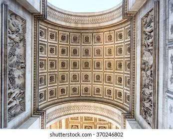 PARIS - SEPTEMBER 28: Arc de triomphe de l'Etoile or Victory arch at center of Champs-Elysees avenue in Paris, France, was taken on September 28, 2015.