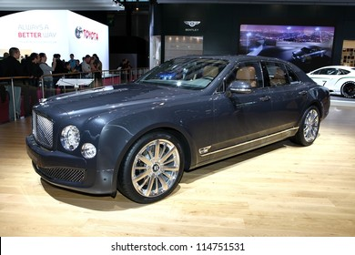 PARIS - SEPTEMBER 30: The new Bentley Mulsanne displayed at the 2012 Paris Motor Show on September 30, 2012 in Paris