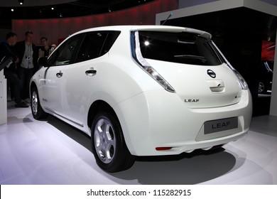 PARIS - SEPTEMBER 30: The new Nissan Leaf displayed at the 2012 Paris Motor Show on September 30, 2012 in Paris