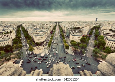 Paris skyline - avenue des Champs-Elysees. View from Arc de Triomphe, Paris, France. Vintage, retro