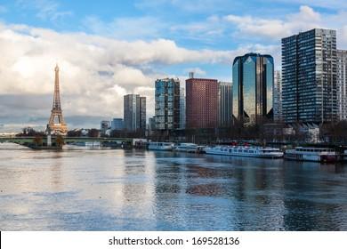 Paris skyline at dusk