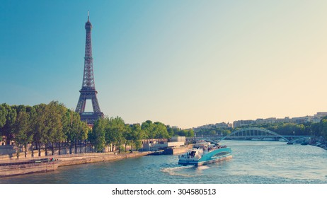 Paris skyline with Eiffel Tower and Seine River