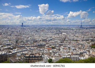 Paris skyline. Great panoramic from the Sacre Coeur. Can see the entire downtown from Montmartre to Montparnasse and the Eiffel tower