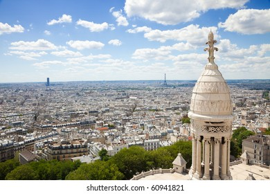 Paris skyline. Great panoramic from the Sacre Coeur. Can see the entire downtown, Eiffel tower included