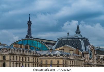 Paris skyline from the Seine river