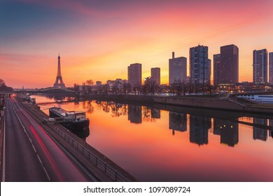 Paris skyline at sunrise, France