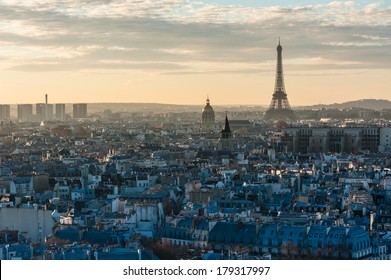 Paris skyline sunset view with the Eiffel tower from the roof of notre-dame de Paris