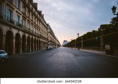 Paris Street at Sunset in France