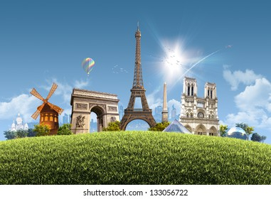 Paris Summer - photographic composition of famous landmarks of Paris, France -  sunny cityscape background with grassy hill and clear blue sky - great for posters, cards or banners
