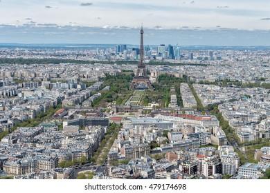 Paris sunny blue sky aerial view landscape