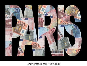 Paris text with collage of colourful euro notes illustration