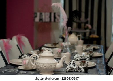 Paris themed party elegantly decorated for tween's birthday celebration party.