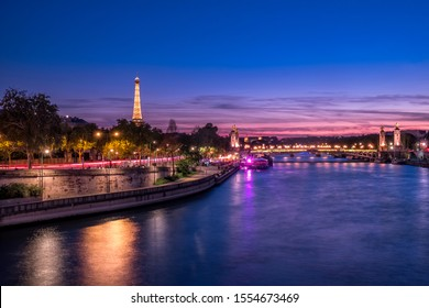 Paris and the Tour Eiffel by night, France