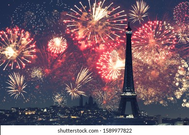 Paris and Tour Eiffel (France) with fireworks
