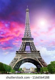 Paris, Tour Eiffel  on sunset