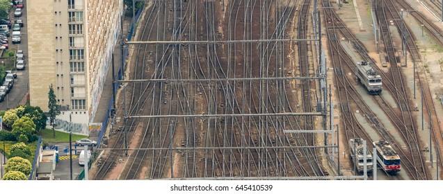 Paris train station, France. Aerial view.