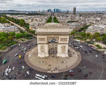 Paris Triumphal arch from air
