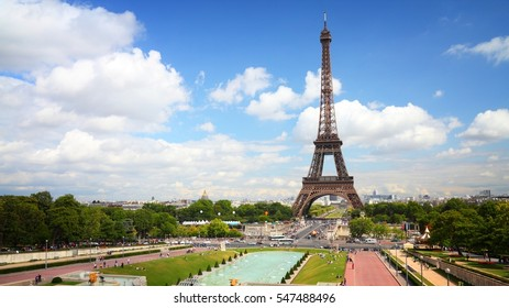 Paris - Trocadero gardens and Eiffel Tower.