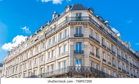 Paris, typical facades in the center, beautiful buildings