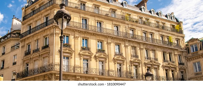 Paris, typical facades and street, beautiful buildings in Montmartre