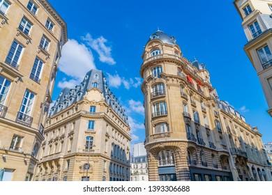Paris, typical parisian facades rue des Petits-Champs in the 2nd district, chic area