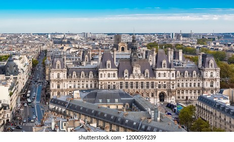 Paris, view of the city hall and the rue de Rivoli, view from the Saint Jacques tower