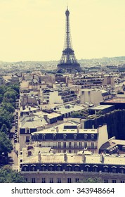Paris. View of the Eiffel Tower - the city's main character with the effect of toning.