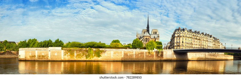 Paris, view of river Seine with Notre-Dame cathedral on a bright day in spring