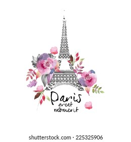 Paris watercolor  illustration ( Paris great moment)