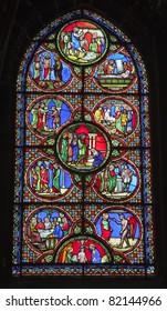 Paris - windowpane from Saint Denis gothic church