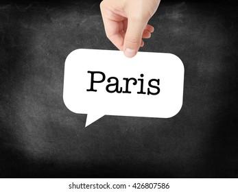 Paris written on a speechbubble