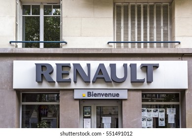 PARIS-AUG 6: Renault logo on August 6, 2016 in Paris France. Renault S.A. is a French car manufacturer producing cars, vans, buses, trucks, tractors, tanks, buses/coaches and autorail vehicles.