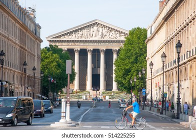 PARIS-AUGUST 15: La Madeleine in the distance on August 15,2013 in Paris. France. La Madeleine is a Roman Catholic church occupying a commanding position in the 8th arrondissement of Paris