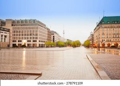 Pariser Platz, Unter den Linden street and panorama of Berlin, Germany