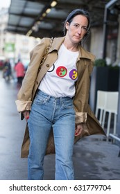 PARIS-FEBRUARY 28, 2017. Street style fashion during Paris fashion week. Ready to wear.