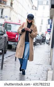 PARIS-FEBRUARY 28, 2017. Street style fashion during Paris fashion week. Ready to wear.