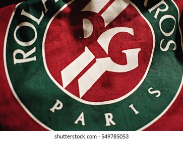 Paris/France - 04.01.2017: Red bag with the logo of Roland Garros