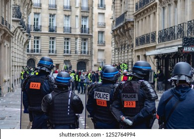 Paris/France 08.12.2018 Protest Yellow Vests (Gilets Jaunes) against the government of Emanuel Macron ACT 4. Gendarmes, Police, Firefighters
