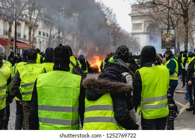 Paris/France 08.12.2018 Protest Yellow Vests (Gilets Jaunes) against the government of Emanuel Macron ACT 4. The Protesters