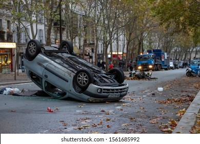 "Paris/France - 10.16.2019 Demonstration ""Yellow vests"" (Gilets Jaunes) Acte 53 The protest continues. Car overturned"