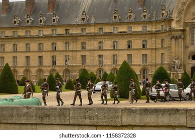 Paris/France -16.07.2012: Soldiers - on a military parade. Bastille Day.
