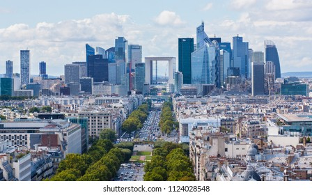 Paris/France- 26 August 2014: Panoramic view of Paris from the roof of the Triumphal Arch. View on La Defense - Business district of Paris.