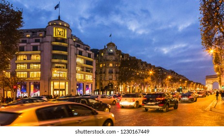 Paris,France - 27 November 2016: Night image of the famous Champs Elysees Boulevard in Paris festive decorated during the winter holidays.