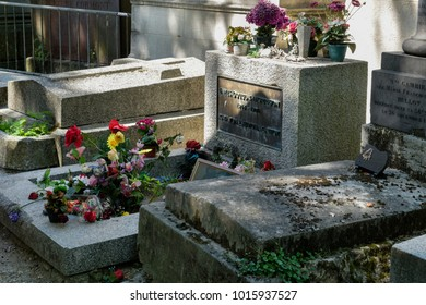 PARIS,FRANCE - AUGUST 1,2017 : The grave of Jim Morrison from The Doors at Pere Lachaise cemetery in Paris