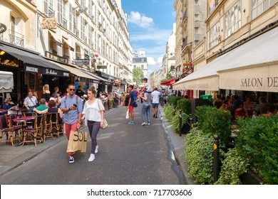 PARIS,FRANCE - AUGUST 1,2017 :Small street in the Latin Quarter in Paris with bistros and restaurants